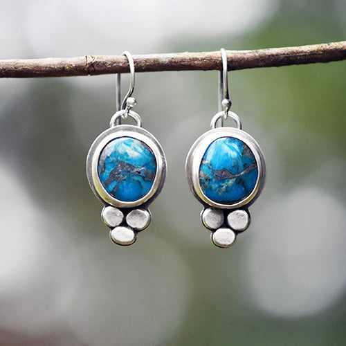 Sterling Silver & Blue Mojave Turquoise with Zinc Matrix Earrings