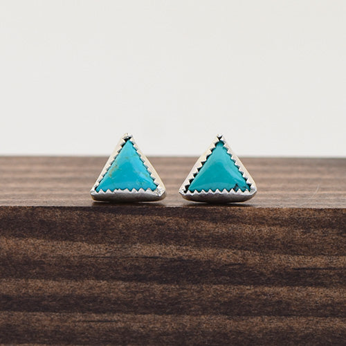 Sterling Silver & Campitos Turquoise Triangle Studs