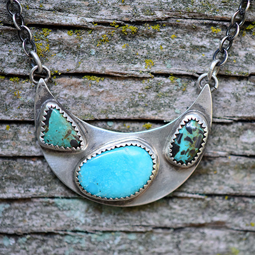 Sierra Nevada, Hubei Turquoise & Sterling Silver Crescent Moon Necklace