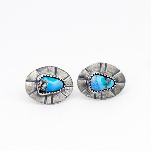 Golden Hill Turquoise & Sterling Silver Stud Earrings