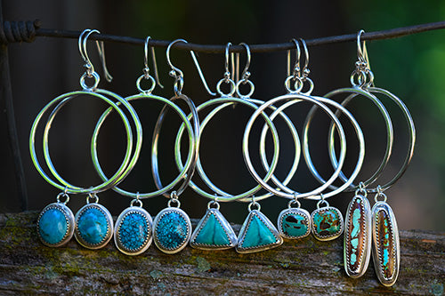 Sterling Silver & Carico Lake Turquoise Triangle Hoops