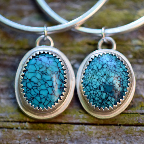 Sterling Silver & Lone Mountain Turquoise Hoops