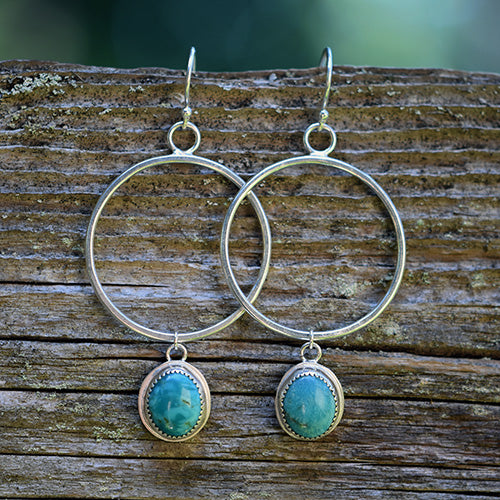 Sterling Silver & Royston Turquoise Hoops