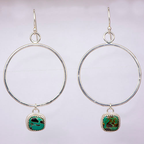 Sterling Silver & Carico Lake Turquoise Hoops