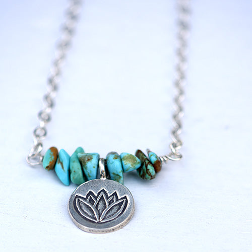 Silver Lotus & Kingman Turquoise Necklace