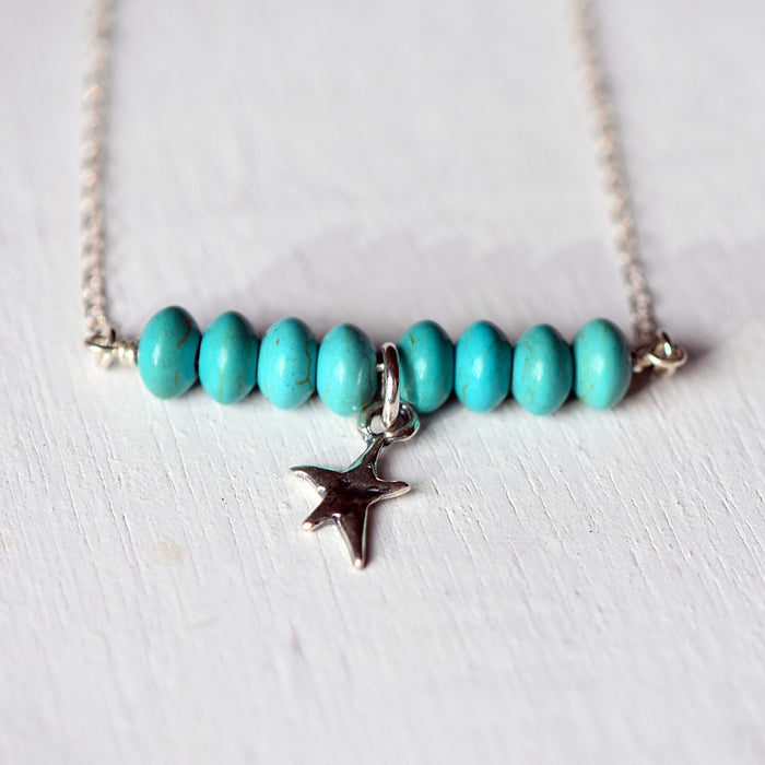 10% OFF - Magnesite Sterling Silver Star Bar Necklace