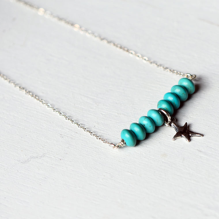 25% OFF - Magnesite Sterling Silver Star Bar Necklace