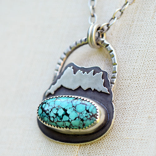 Mountain Keeper // Three Fingered Jack // Sterling Silver & Hubei Turquoise Necklace