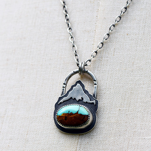 Mountain Keeper // Mt. Hood // Sterling Silver & Royston Ribbon Turquoise Necklace