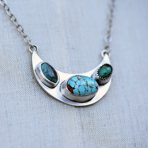 Royston Turquoise & Sterling Silver Crescent Moon Necklace
