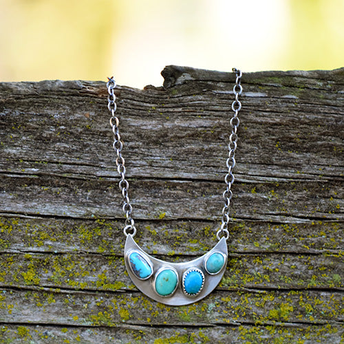 Sonoran Turquoise & Sterling Silver Crescent Moon Necklace