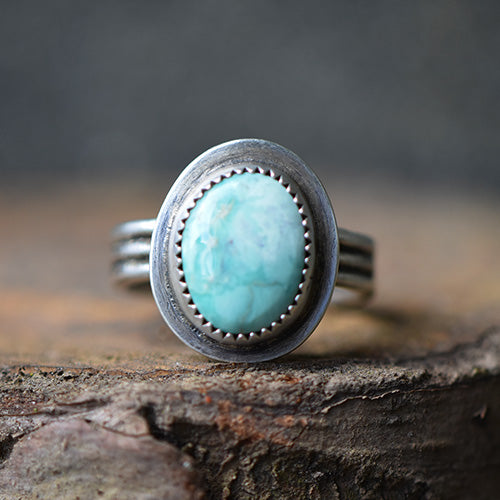 Sonoran Turquoise Sterling Silver Triple Band Ring - U.S. Size 6.5