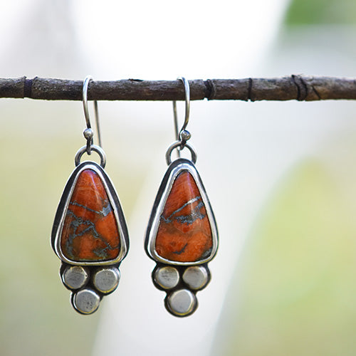 Sterling Silver & Orange Mojave Coral with Zinc Matrix Earrings