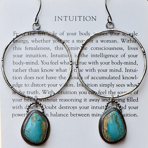 25% OFF - Sterling Silver Pilot Mountain Turquoise Rustic Hoops