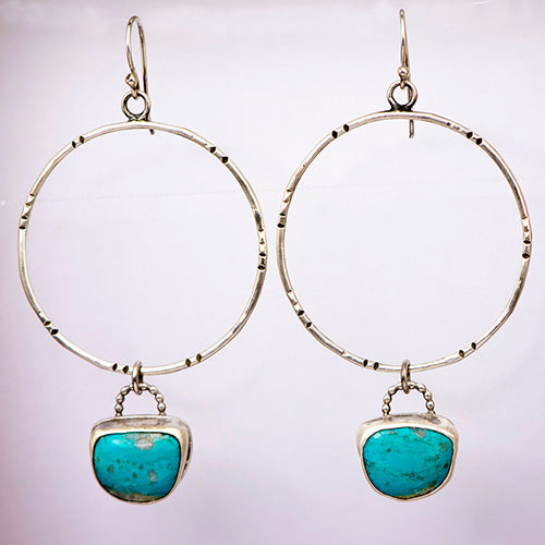 Sterling Silver & Pilot Mountain Turquoise Hoops