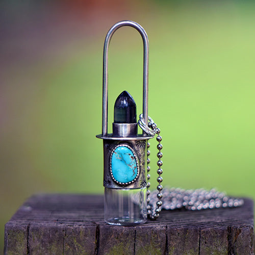 Essential Oil Rollerball  Necklace - Sierra Nevada Turquoise & Fluorite Bullet with Lotus Flower