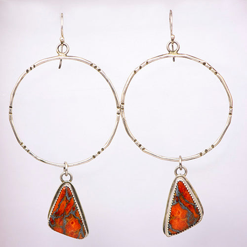 Sterling Silver & Orange Mojave Turquoise Hoops