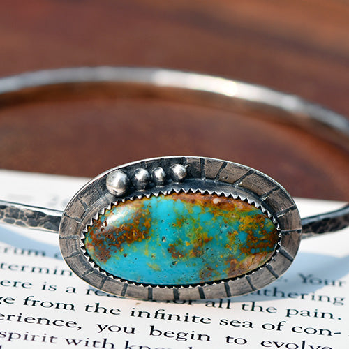 Sterling Silver & Royston Turquoise Bangle