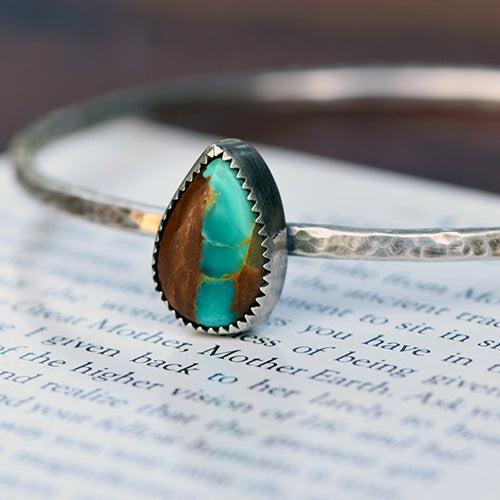 Sterling Silver Royston Ribbon Turquoise Bangle Bracelet