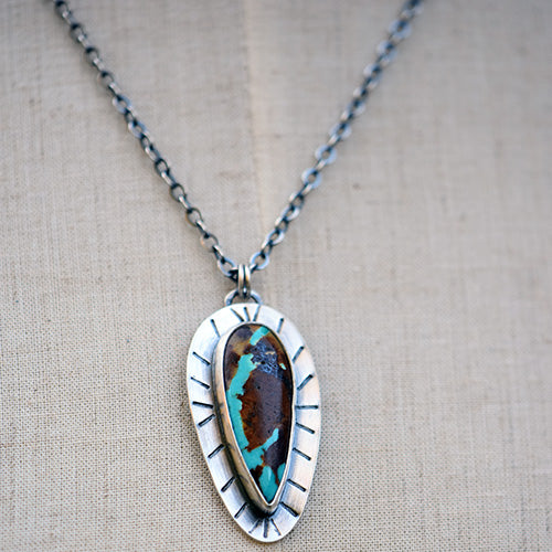 10% OFF - Sterling Silver & Royston Ribbon Turquoise Teardrop Necklace