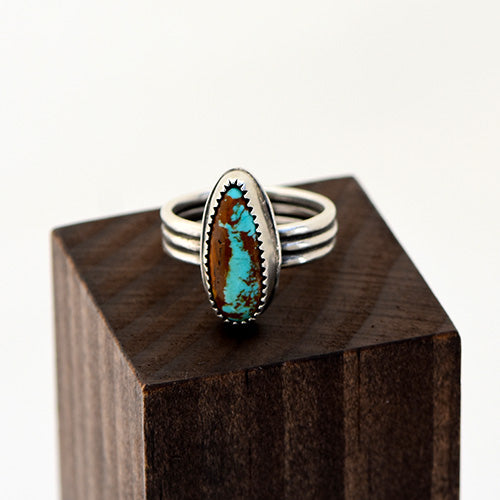 Royston Ribbon Turquoise Sterling Silver Triple Band Ring - U.S. Size 7