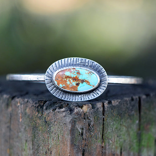 10% OFF - Sterling Silver & Treasure Mountain Turquoise Bangle