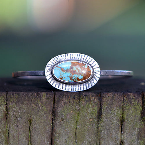 Sterling Silver & Treasure Mountain Turquoise Bangle