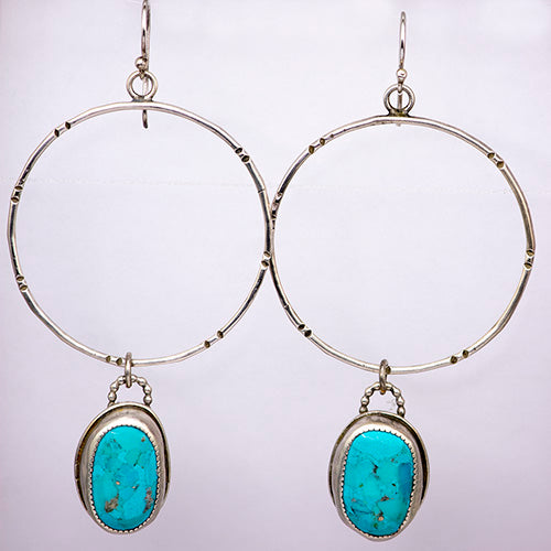 Sterling Silver & Sleeping Beauty Turquoise Rustic Hoops