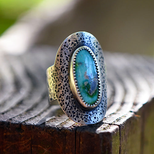Sterling Silver Saddle Ring - Sonoran Gold Turquoise - U.S. Size 8.5