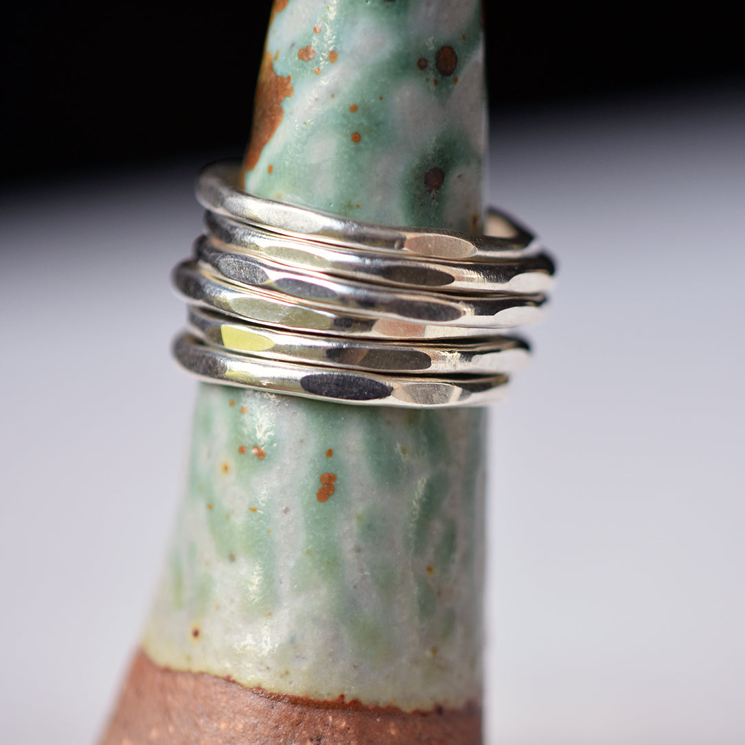 Set of 6 Sterling Silver Hammered Stacking Rings - Multiple Sizes