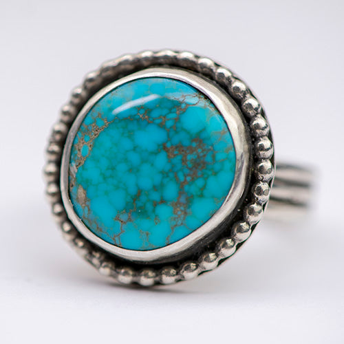Treasure Mountain Turquoise Sterling Silver Triple Band Ring - U.S. Size 8.5