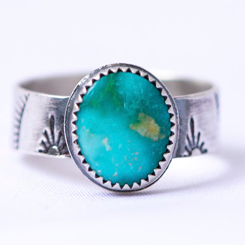 White Water Turquoise Sterling Silver Stamped Ring - U.S. Size 9 1/2