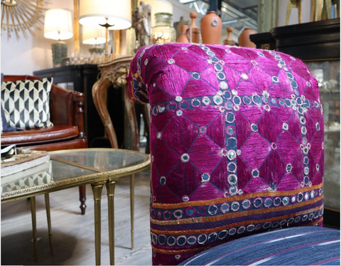 Slipper chair reupholstered in magenta and blue antique Indian textiles