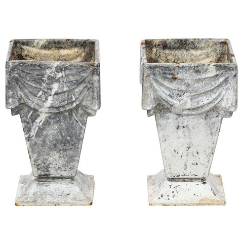 Neoclassical Style Cast Iron Vases with White Enamel Finish