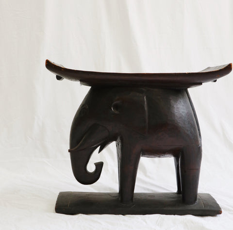 Carved Wood Elephant Stool ca. 1890's