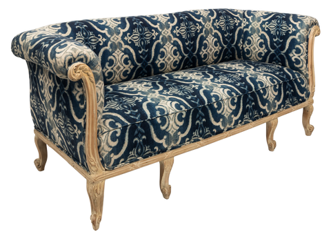 Antique French Chesterfield Sofa in Indigo Ikat Print Linen