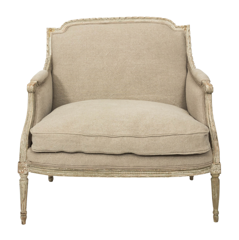 French Louis XVI Style Marquise Loveseat in Natural Linen