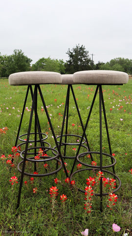 RT Antique Iron Barstool in Modern Design with linen seat(Set of 4)