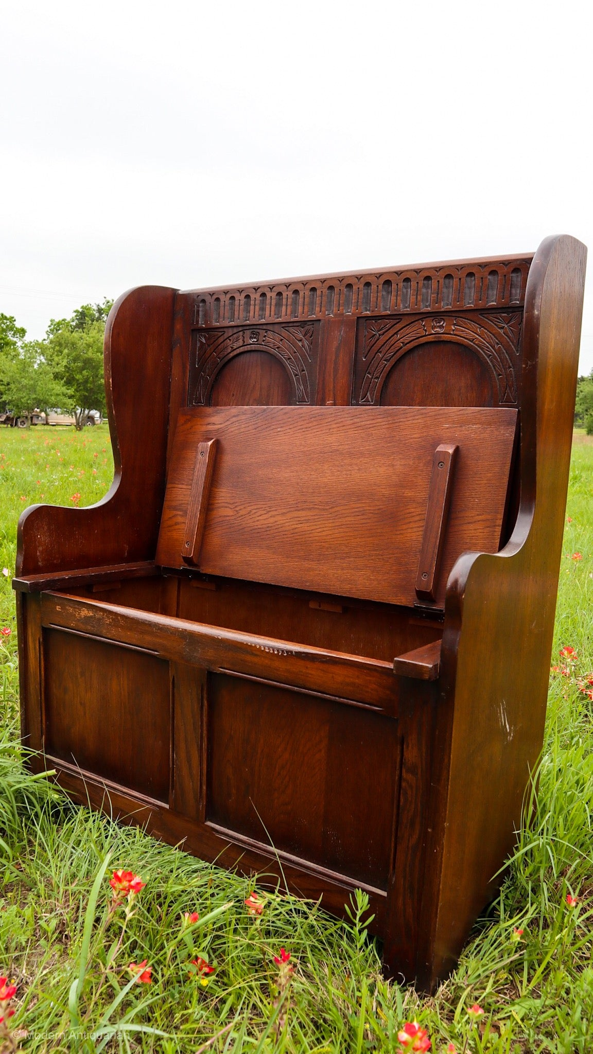 Amazing Rt 1910 Carved Storage Bench Pew Cjindustries Chair Design For Home Cjindustriesco