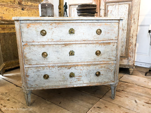 Swedish Chest in pale blue original finish