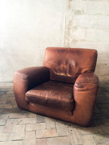 Pair of 1960's Oversized Leather Armchairs