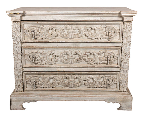Whitewashed Antique Chest of Drawers with Hand-carved Leaf Motif