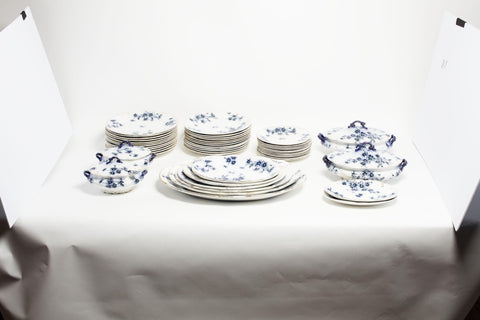 English Flow Blue Dinnerware Set