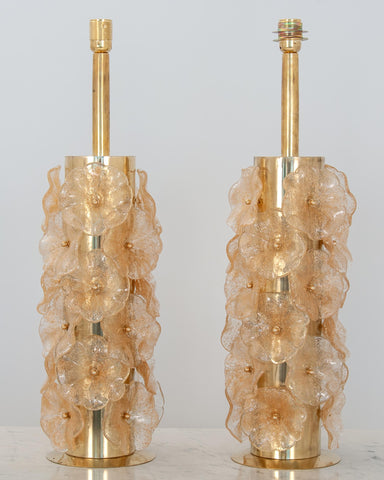 Pair Murano Flower Lamps