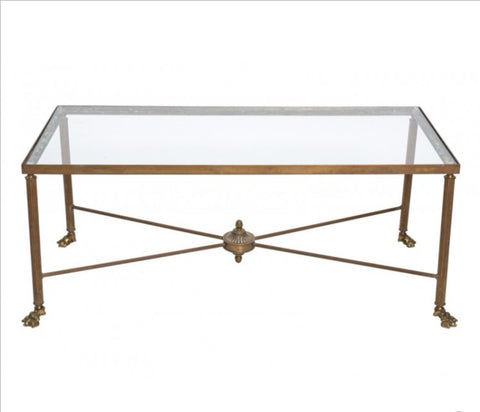 Vintage French Brass Cocktail Table with Claw Feet
