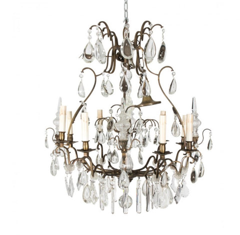 Circa 1900 crystal eight light chandelier