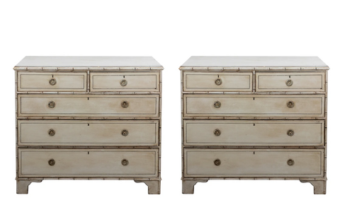 Pair Faux Bamboo Chest of Drawers