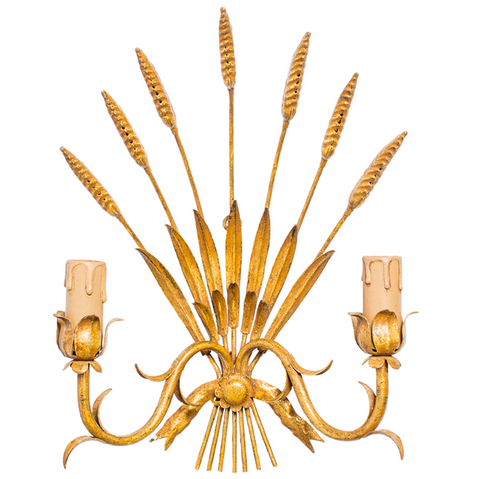 Vintage French Provincial Wheat Sheaf Gilded Sconces
