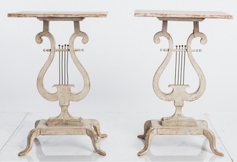 Pair Lyre Side Tables