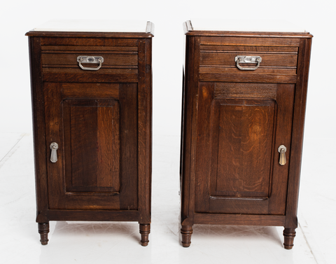 Marble Top Nightstands, Pair
